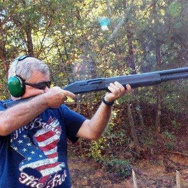 Bob Campbell shooting a shotgun through recoil