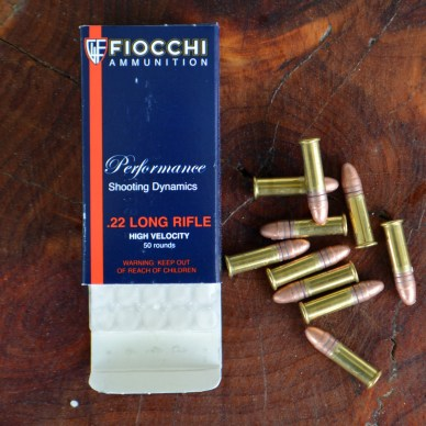 Fiocchi .22 LR HV ammunition box and loose rounds