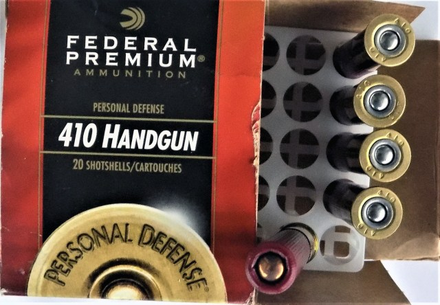 Federal .410 buckshot ammunition box