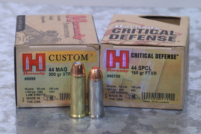 Hornady Critical Defense 44 Magnum ammunition boxes