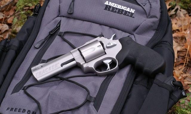 Taurus 44 Tracker revolver on backpack
