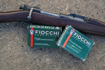 .30-06 bolt action rifle with Fiocchi ammunition boxes for bigger guns