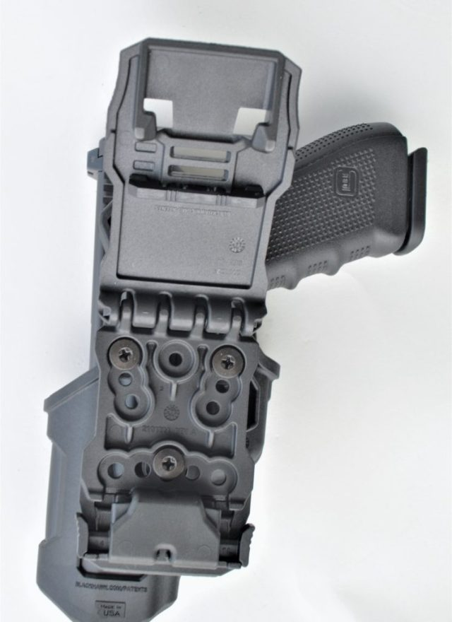 Blackhawk T-Series holster thumb release design.