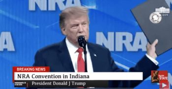 President Donal Trump speaking at the NRA convention in 2019