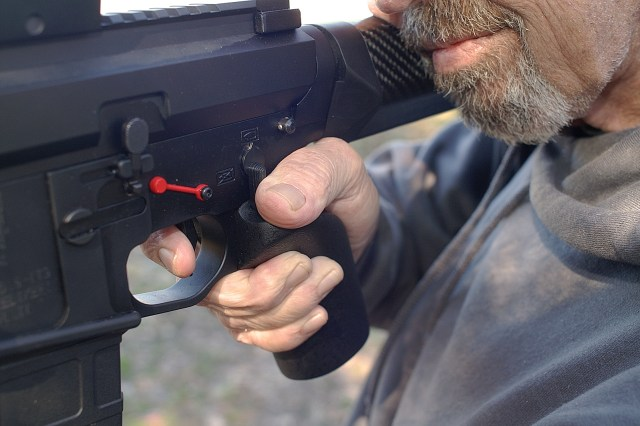 Gripping AR-15 Showing Proper Trigger Placement and Grip