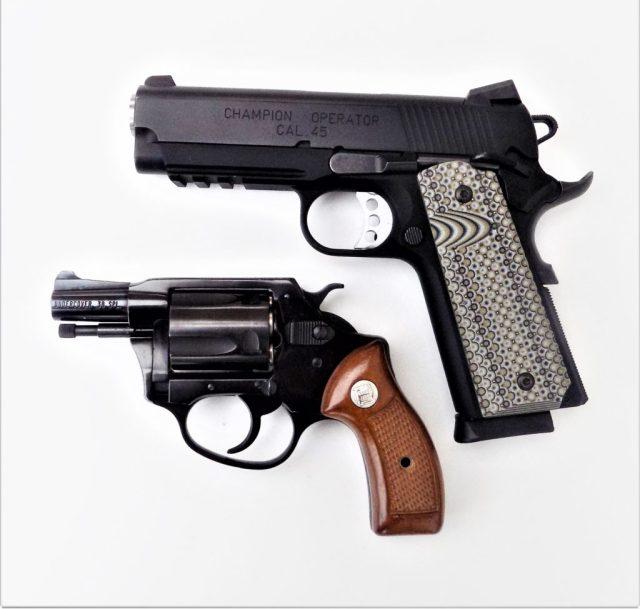 Snub Nose Revolver and 1911 Pistol