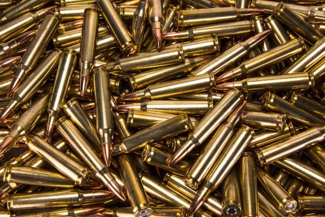 A pile of .223 ammunition