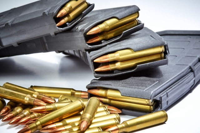 Stacked 30-round ar-15 mags with ammo