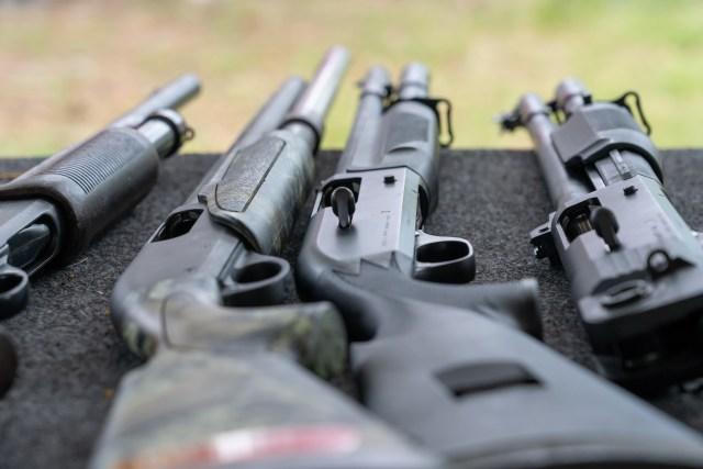 Semi-Automatic Shotguns on table