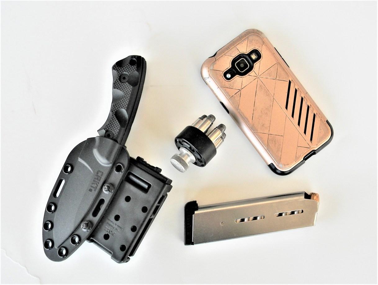 Knife, Phone, Magazine and Speedloader