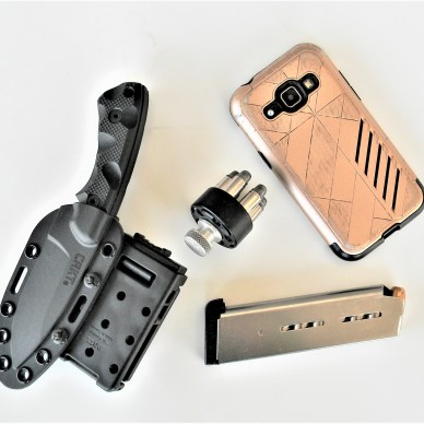 Knife, Phone, Magazine and Speedloader