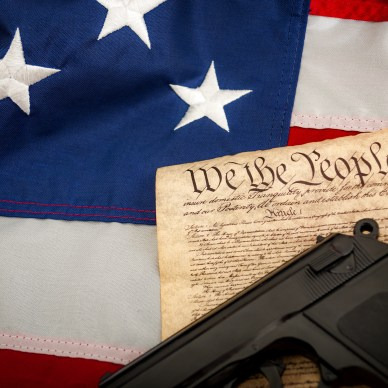 Gun on constitution on American flag California lawsuit