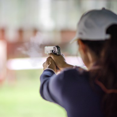 Woman in Shooting Stance