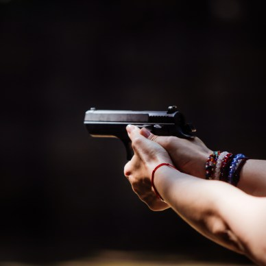 Two-handed pistol grip