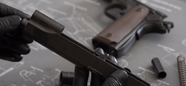 Inserting 1911 barrel into slide
