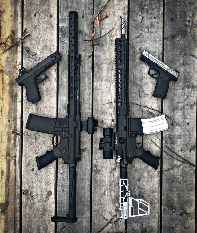 Two AR-15 rifles and Two Pistols