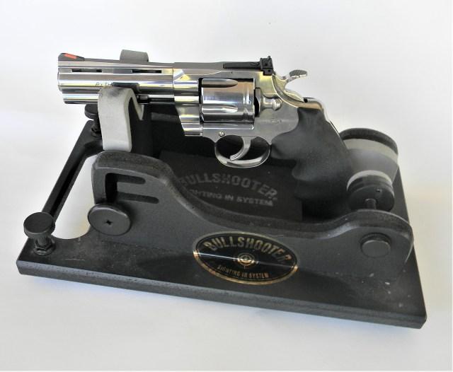 revolver on shooting rest