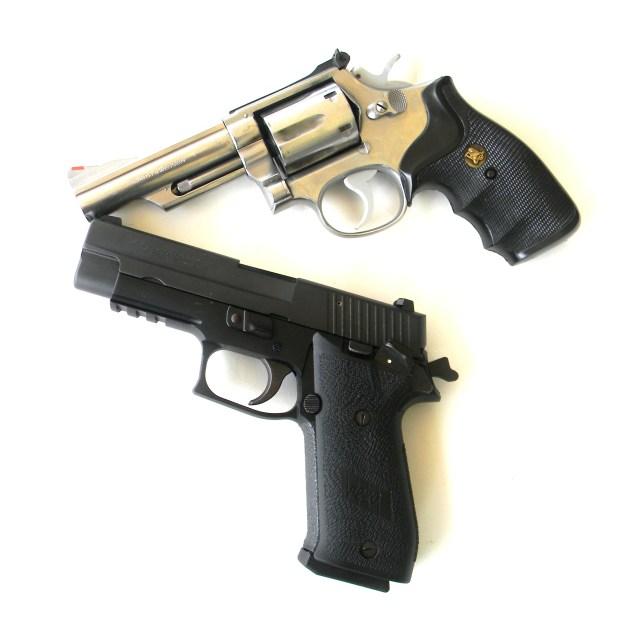 semi-auto SIG pistol and revolver