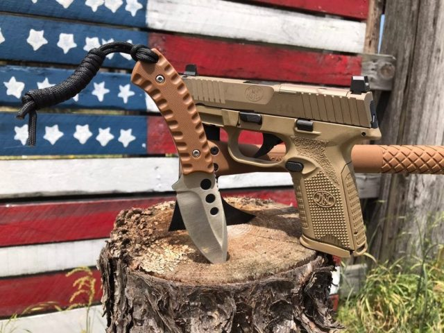 FDE FN 509 Pistol and Tan Knife on Tree Stump in front of American Flag