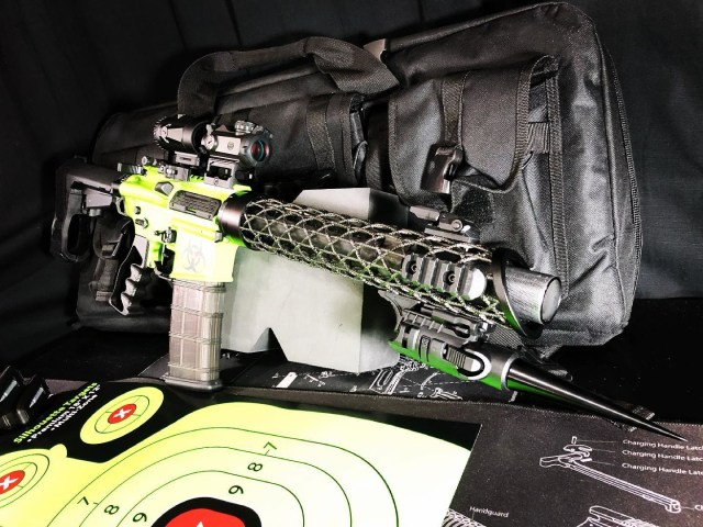 AR pistol and target