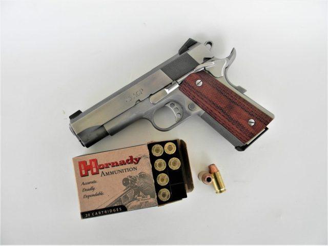 1911 pistol and hornady ammo