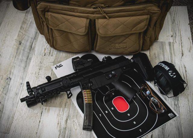 HK SP5 on target with range bag