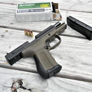 FMK Semi-Auto pistol with magazine and ammo box