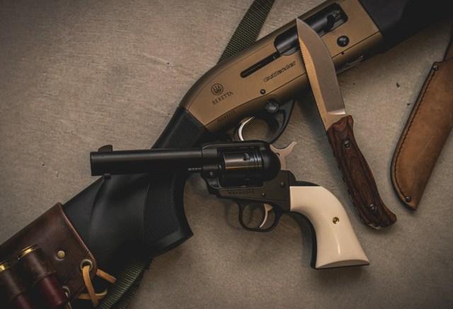 Shotgun, revolver and knife