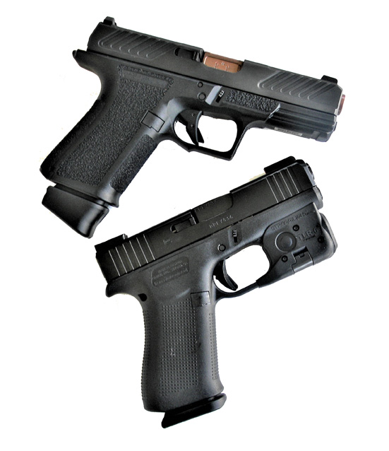 Shadow Systems 9mm MR920, top and Glock 43X, bottom