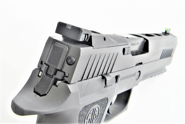 rear sight view of the SIG P320 X Five pistol