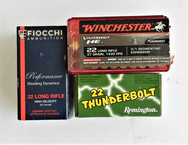 three boxes of .22 ammunition from Winchester, Remington, and Fiocchi