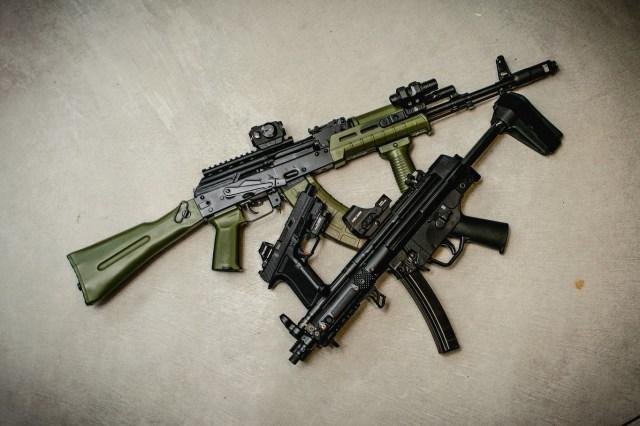 AK Rifle, MP5 and Handgun