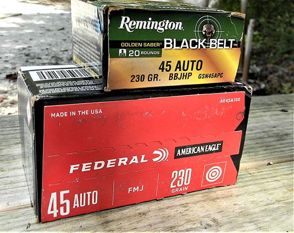 Remington Black Belt .45 ACP and Federal American Eagle ammunition boxes
