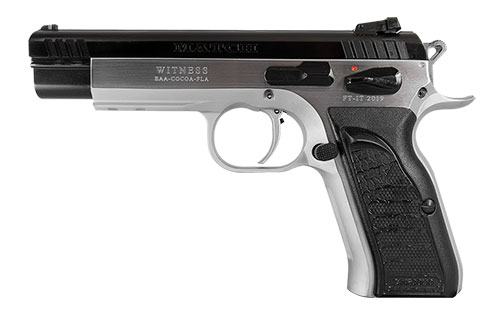 EAA Witness Match pistol with black grips chambered in .45 ACP left profile