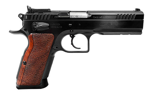 EAA Witness Match pistol with wood grips chambered in .45 ACP right profile black