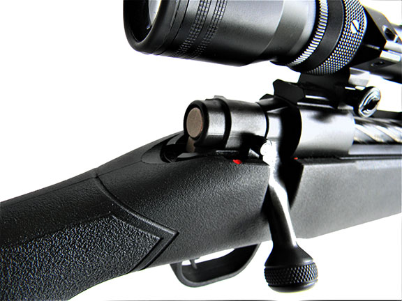 rear quartering view of the Mossberg Patriot showing the stock to action fit