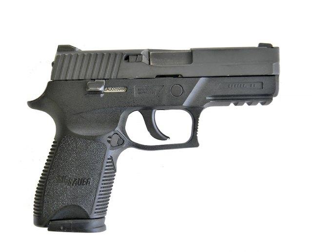 SIG P250 9mm pistol right profile black