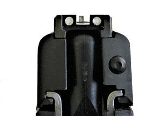 Three dot sight picture of the SIG P250 handgun