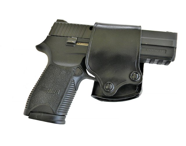 SIG Sauer P250 9mm pistol in a Galco Yaqui Slide holster
