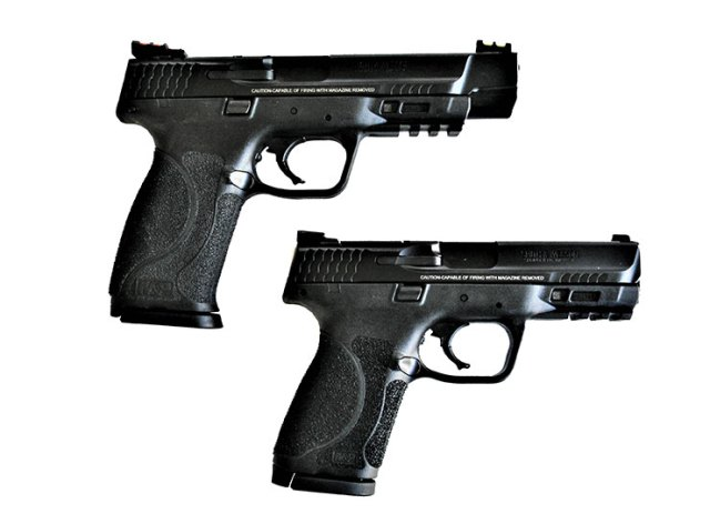 Smith & Wesson Military & Police 5.0 Pro Series pistol, top and Smith and Wesson M&P 2.0 Compact below