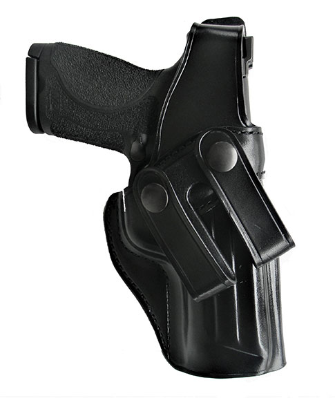 Black Galco Summer Comfort leather holster with a pistol inserted