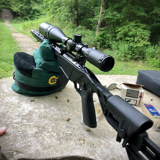 Rifle at range on shooting rest