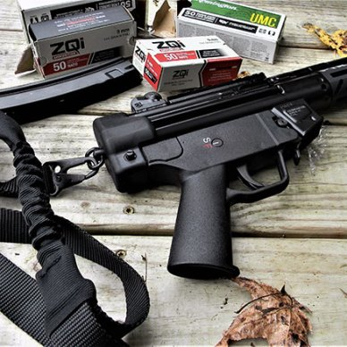 PTR 9CT pistol with a single point sling and four boxes of ammunition