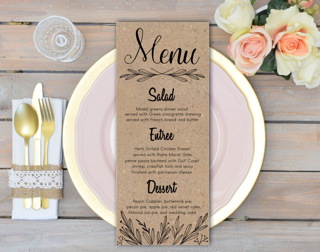 Wanting to Set Up a Candle Light Dinner Mid-Covid19- menu