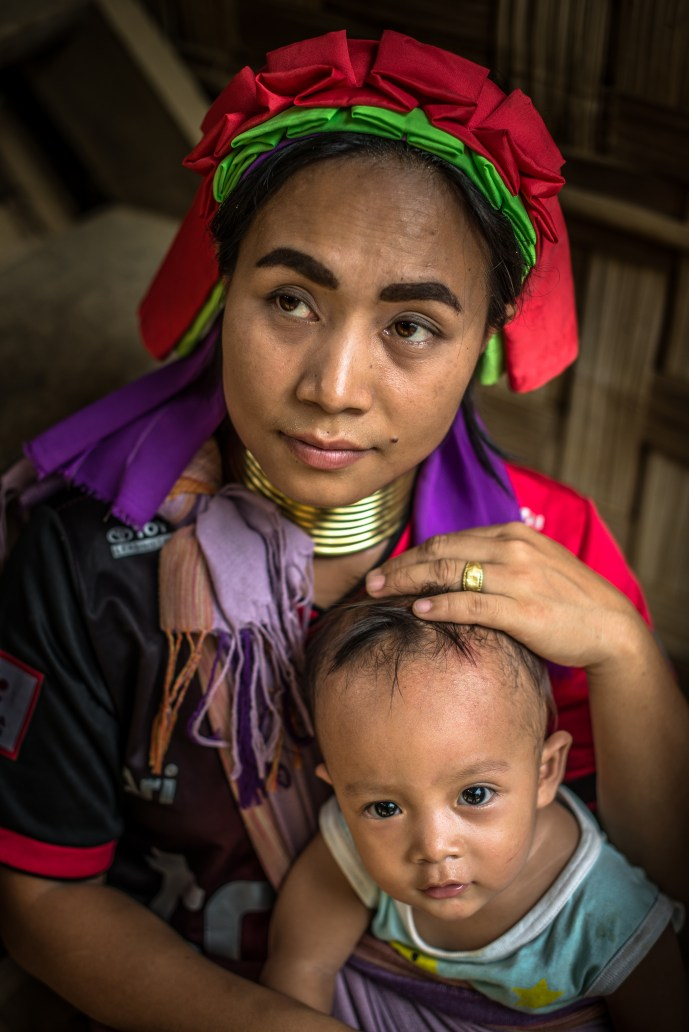 Padaung mother and son