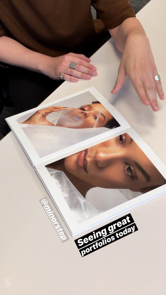 Printed Photography Portfolio in a meeting