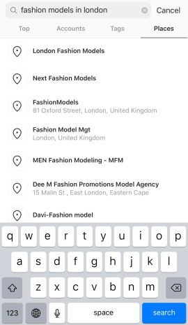 Search for Fashion Models on Instagram