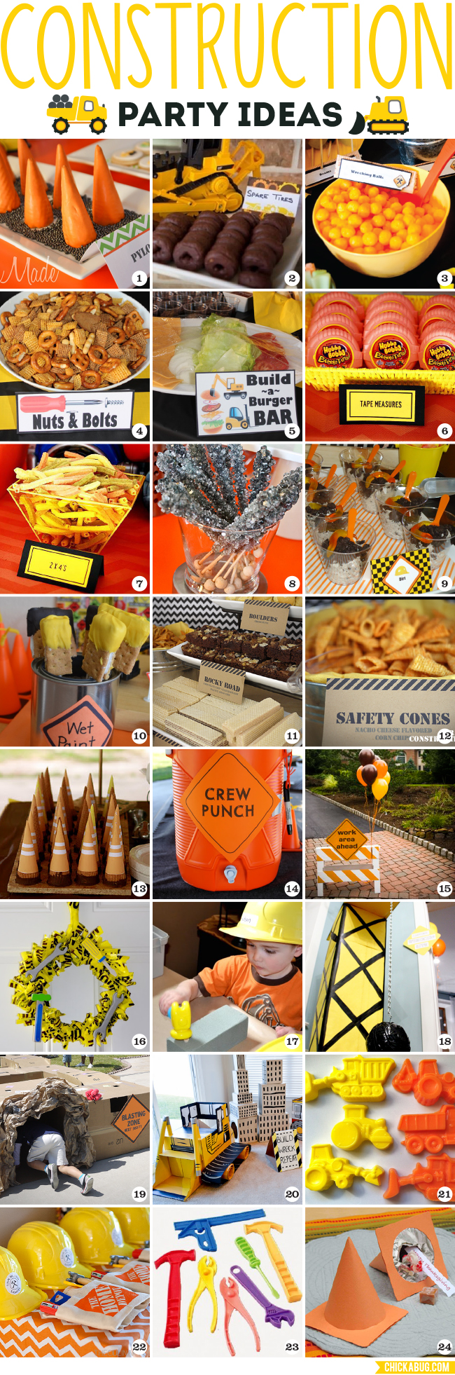 Construction Party Ideas Food Decor Games And Favors Chickabug
