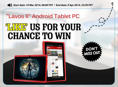 Facebook Like us to win Red Android 4 2 Tablet