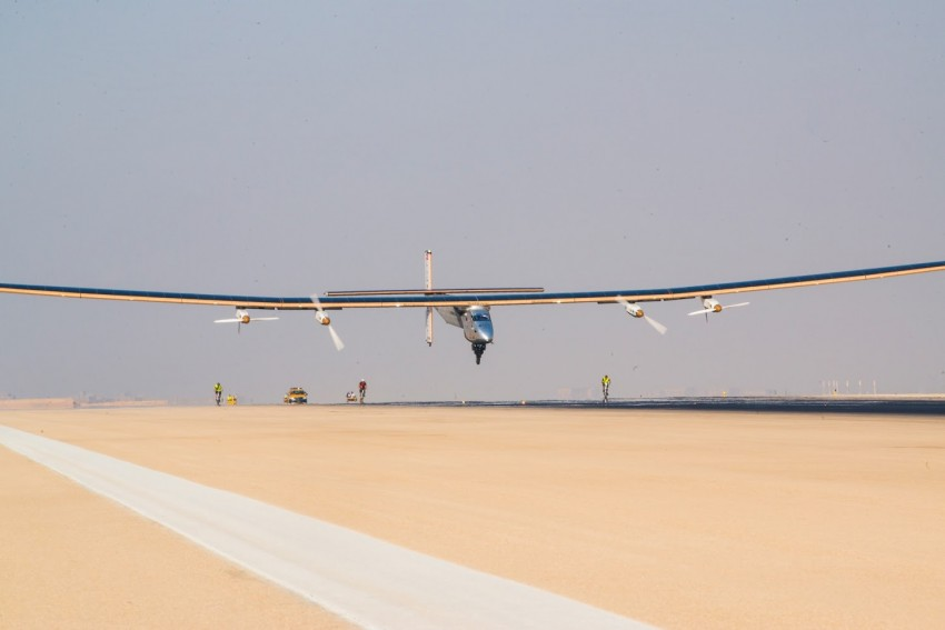 Cairo, Egypt, July 13th 2016: Solar Impulse successfully landed in Cairo after 2 days of flight with André Borschberg at the controls. Departed from Abu Dhabi on march 9th 2015, the Round-the-World Solar Flight will take 500 flight hours and cover 35'000 km. Swiss founders and pilots, Bertrand Piccard and André Borschberg hope to demonstrate how pioneering spirit, innovation and clean technologies can change the world. The duo will take turns flying Solar Impulse 2, changing at each stop and will fly over the Arabian Sea, to India, to Myanmar, to China, across the Pacific Ocean, to the United States, over the Atlantic Ocean to Southern Europe or Northern Africa before finishing the journey by returning to the initial departure point. Landings will be made every few days to switch pilots and organize public events for governments, schools and universities.
